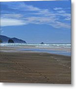 Side By Side Along The Beach Metal Print