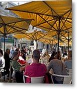 Sidewalk Cafe In Lisbon Metal Print