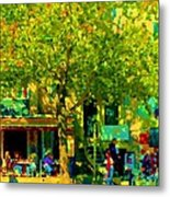 Sidewalk Cafe Rue St Denis Dappled Sunlight Shade Trees Joys Of Montreal City Scene  Carole Spandau Metal Print