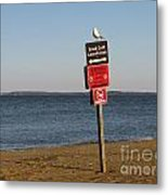 Signage On The Beach At Sandy Point Metal Print