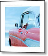 Signed Chevy Belair At The Beach Mini Metal Print