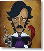Silence A Poe Caricature Metal Print