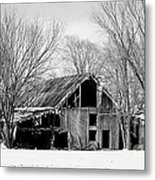 Silent Barn In The Winter Metal Print