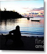 Silhouette At Sunrise Metal Print