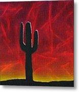 Silhouette Cactus Metal Print
