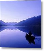 Silhouette Of A Canoeist At Sunrise Metal Print