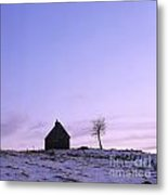 Silhouette Of A Farm And A Tree. Cezallier. Auvergne. France Metal Print