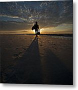 Silhouette Of A Man Wearing Hat And The Bag In Hand Walking On The Seashore Metal Print