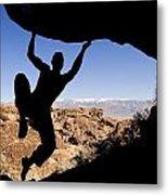 Silhouette Of A Rock Climber Metal Print