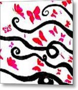 Silhouette Of A Woman With Pink Butterflies Metal Print