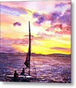 Silhouette Of Boat And Sailors On Torch Lake Michigan Usa Metal Print