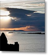 Silhouette Of Dunluce Castle Metal Print by Semmick Photo