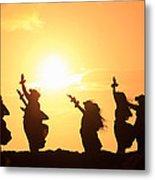 Silhouette Of Hula Dancers At Sunrise Metal Print