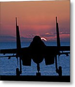Silhouette Of Military Attack Aircraft Against Vibrant Sunset Sk Metal Print