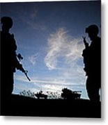 Silhouette Of Modern Soldiers  Metal Print by Matthew Gibson