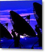 Silhouette Of Satellite Dishes Metal Print