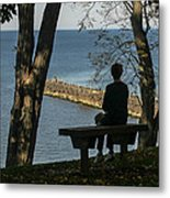 Silhouette On The Hill Metal Print