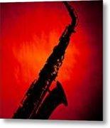 Silhouette Photograph Of An Alto Saxophone 3357.02 Metal Print