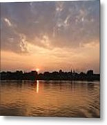 Silhouette Scenery Of  Nakorn Phanom City From Mekong River Metal Print