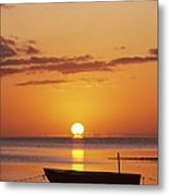Silhouetted Boat Metal Print