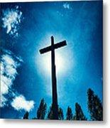 Silhouetted Cross Metal Print