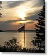 Silhouetted Flag At Sunset Metal Print