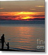 Silhouetted In Sunset At Sturgeon Point Marina Metal Print