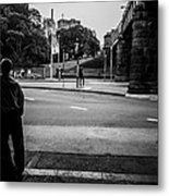 Silhouetted Man Leans Black And White Metal Print