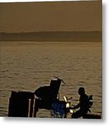 Silhouetted Sea Monster Playing Piano.tif Metal Print