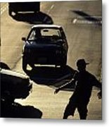Silhouetted Skateboarder Metal Print