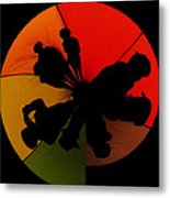 Silhouettes Around The Balloon Metal Print