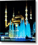 Silhouettes Of Blue Mosque Night View Metal Print