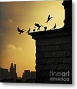 Silhouettes Of The Cormorants Metal Print
