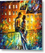 Silhouettes - Palette Knife Oil Painting On Canvas By Leonid Afremov Metal Print