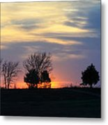Silhouetts Of A Sunset Metal Print