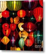 Silk Lanterns In Vietnam Metal Print