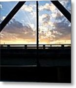 Sillhouette Iron And Concreted Bridges At Sunset In Pai Thailand Metal Print