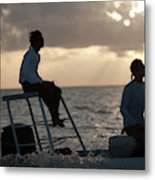 Sillouetted Man Steers Flats Boat Metal Print