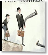 Silly Walk Off A Cliff Metal Print