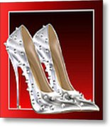Silver And Red High Heels Metal Print