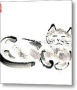 Silver Cat Metal Print