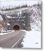 Silver Creek Cliff Tunnel Winter 1 Metal Print