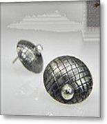 Silver Earrings Metal Print
