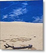 Silver Lake Dune With Dead Tree Branch And Cirrus Clouds Metal Print