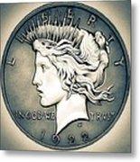 1922 Silver Proof Peace Dollar Metal Print