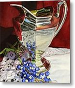 Silver Pitcher And Bluebonnet Metal Print