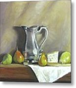 Silver Pitcher With Pears Metal Print