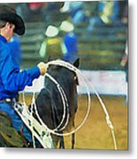 Silver Spurs Rodeo Outrider Metal Print