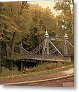 Silver Suspension Bridge Metal Print