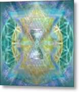 Silver Torquoise Chalicell Ring Flower Of Life Matrix Metal Print